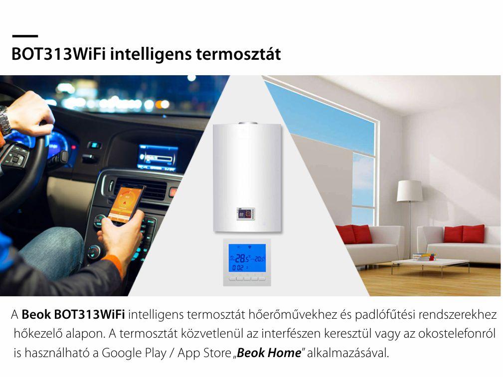 WiFi Termosztát Gázkazánhoz és Padlófűtéshez BeOk BOT-313WiFi