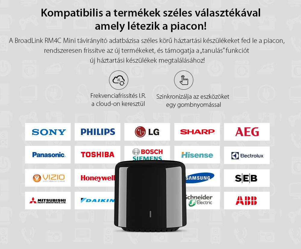 BroadLink RM4C Mini, IR, Wi-Fi Intelligens távirányító, Kompatibilis az Amazon Alexa és a Google Home szolgáltatással
